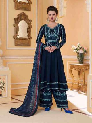 Blue Colored Muslin With Heavy Embroidery Inner Stitched Top With Heavy Dull Santoon Stitched Bottom