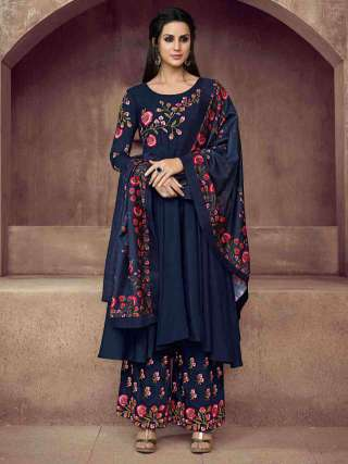 Adorable Blue Colored Pure Muslin Super Embroidery Readymade Palazzo Suit