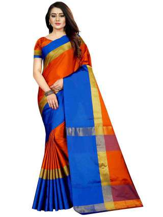 Women Cotton Mix Silk Saree With Unstitched Matching Blouse SON51