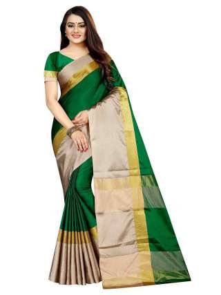 Women Cotton Mix Silk Saree With Unstitched Matching Blouse SON54