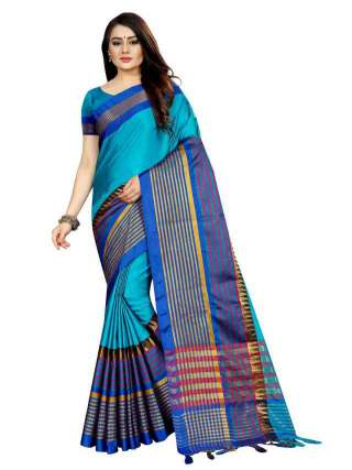 Women Cotton Mix Silk Saree With Unstitched Matching Blouse SON55