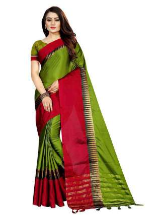 Women Cotton Mix Silk Saree With Unstitched Matching Blouse SON56