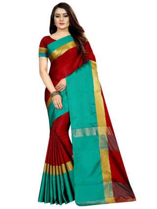 Women Cotton Mix Silk Saree With Unstitched Matching Blouse SON58