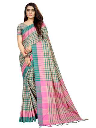 Women Cotton Mix Silk Saree With Unstitched Matching Blouse SON60