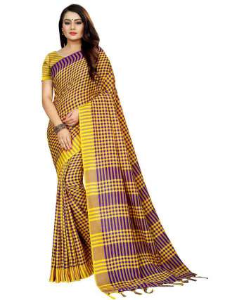 Women Cotton Mix Silk Saree With Unstitched Matching Blouse SON61
