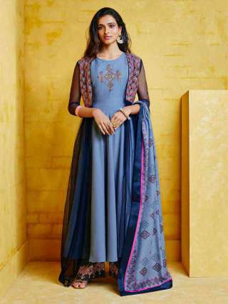 Blue Muslin With Heavy Embroidery Inner Stitched Top With Heavy Dull Santoon Stitched Bottom