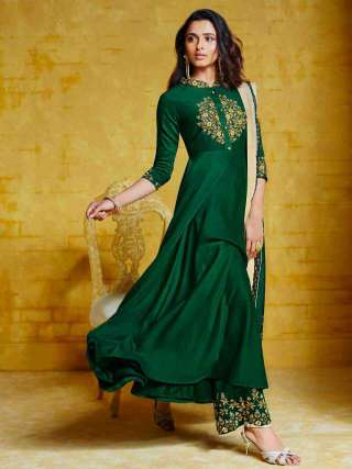 Green Muslin With Heavy Embroidery Inner Stitched Top With Heavy Dull Santoon Stitched Bottom