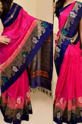 Eye Catching Pink  Color Soft Silk Saree - SB780  30""