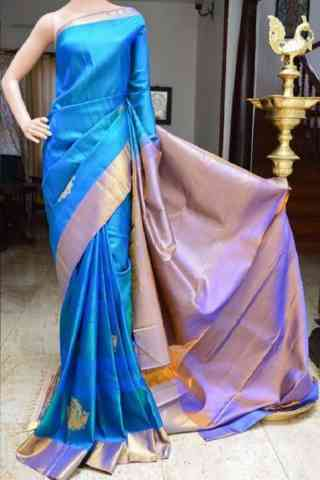 Pleasurable Blue Color Soft Silk Saree - SB812  30""