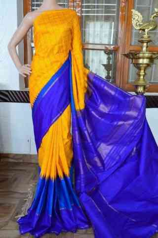 Eye Catching Yellow nBlue Color Soft Silk Saree - SB813  30""