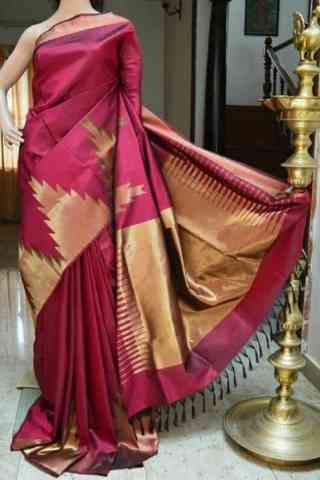 Engrossing Pink Color  Soft Silk Saree - SB822  30""