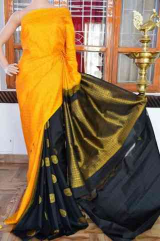 Enriching Yellow n Black Color  Soft Silk Saree - SB827  30""