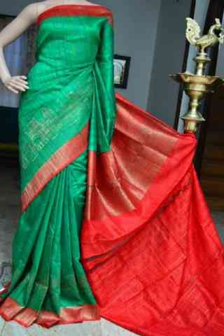 Delightful Green Color  Soft Silk Saree - SB832  30""