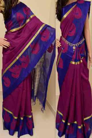 Pretty Magenta  Color Soft Silk Saree - SB856  30""