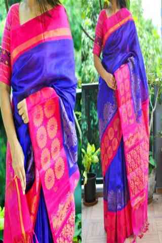 Pretty Blue Color Soft Silk Saree - SB857  30""