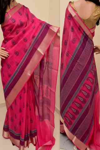 Stylish Pink Color Soft Silk Saree - SB858  30""