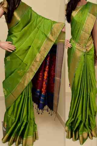 Unique Green Color Soft Silk Saree - SB863  30""