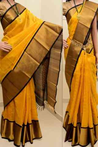 classic Yellow Color Soft Silk Saree - SB869  30""
