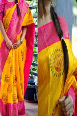 classic Yellow n Pink Color Soft Silk Saree - SB870  30""