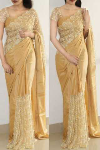 Iconic Cream Color Two Tone Paper Silk Designer saree  30""