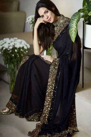 Royal Black Georgette Sequence Embroidery Border Designer Saree  30""
