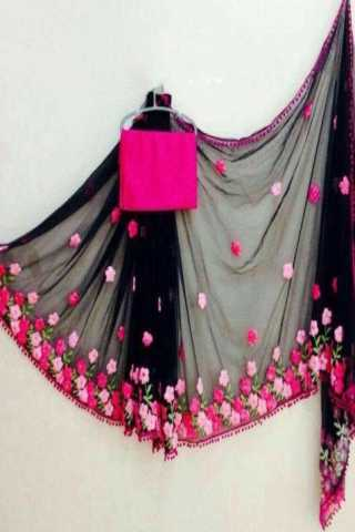 Fantastic Black Georgette Embroidered Designer Saree  30""