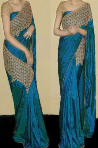 """Exclusive Two Tone Paper Silk Fabric Embroidered Lace Border Saree  30"""""""