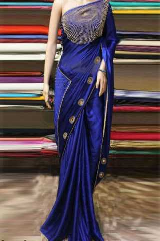 Innovative Blue Color Silk Georgette Stone work Party Wear Saree   30""