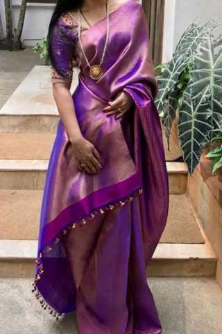 """Elegent Purple Colored Soft Silk Saree - CD103  30"""""""