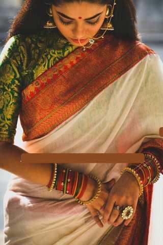 """Unique Off White Colored Soft Silk Saree - CD104  30"""""""