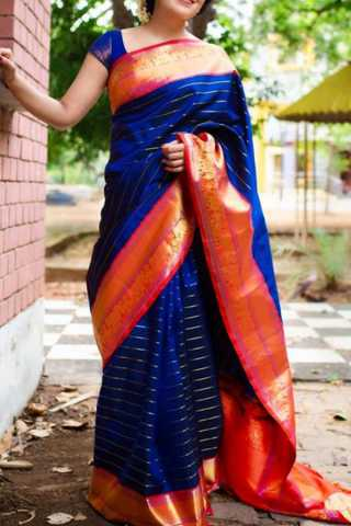 Exclusive Blue Colored Soft Silk Saree - CD114  30""