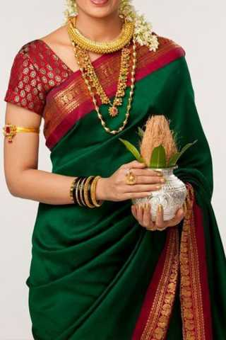 Alluring Green Colored Soft Silk Saree - CD120  30""