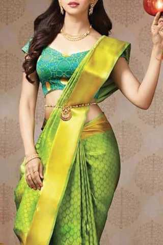 Adoring Green Colored Soft Silk Saree - CD126  30""