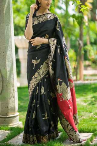 "Extraordinary Black Colored Soft Silk Saree - CD133  30"""