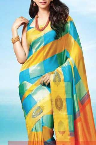 Dazzling Yellow-Blue Colored Soft Silk Saree - CD131  30""