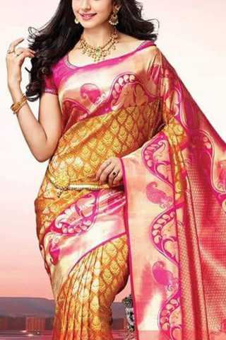 """Lovely Golden Yellow Colored Soft Silk Saree - CD132  30"""""""