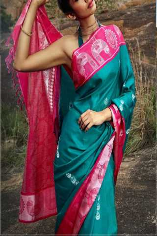 Excellent Pink Border Soft Silk Saree - CD137  30""