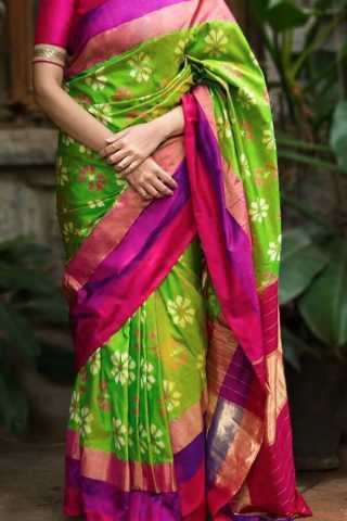 Gorgeous Green Colored Soft Silk Saree - CD138  30""