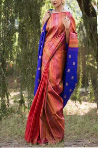 """Admirable Pink-Blue Colored Soft Silk Saree - CD140  30"""""""