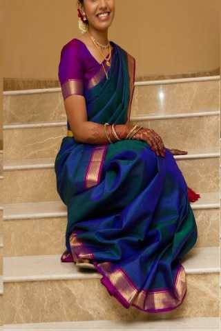 Attractive Blue Colored Soft Silk Saree - CD143  30""