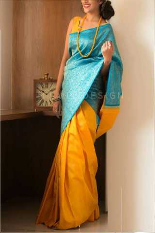 Epitome Blue-Yellow Colored Soft Silk Saree - CD144  30""