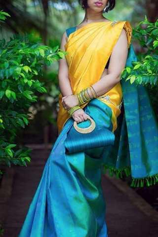 """Unique Yellow-Blue Colored Soft Silk Saree - CD153  30"""""""