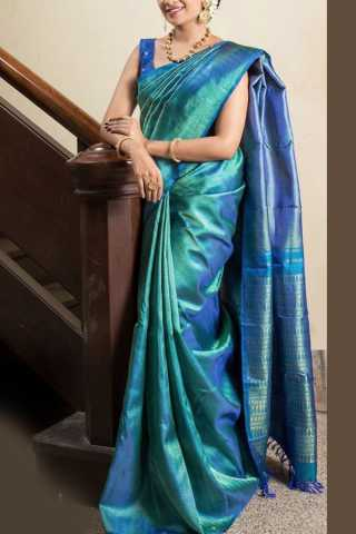 """Blooming Blue Colored Soft Silk Saree - CD155  30"""""""