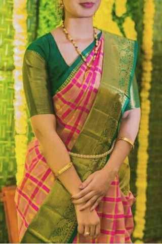 "Elegent Green Border Soft Silk Saree - CD158  30"""