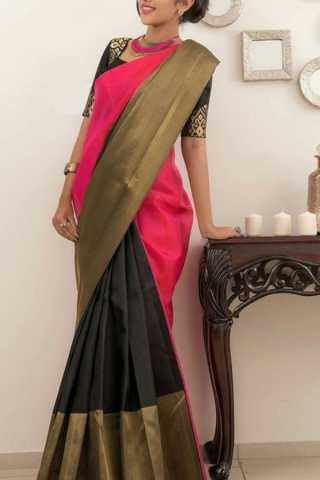 "Ideal Black-Pink Colored Soft Silk Saree - CD159  30"""
