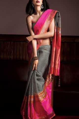 "Stunning Black Colored Soft Silk Saree - CD160  30"""