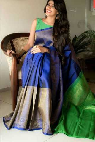 Desirable Blue Colored Soft Silk Saree - CD163  30""
