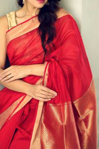 Staring Red Colored Soft Silk Saree - CD167  30""