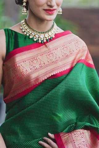 """Epitome Green Colored Soft Silk Saree - CD176  30"""""""