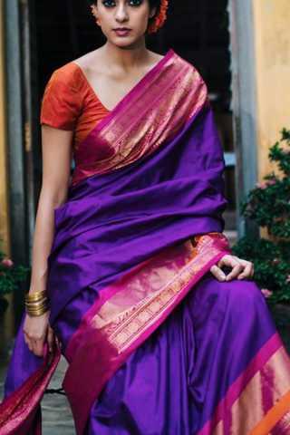"Elegant Purple Colored Soft Silk Saree - CD177  30"""